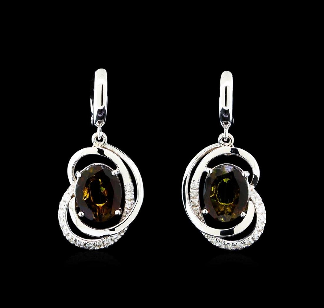 4.15 ctw Tourmaline and Diamond Earrings - 14KT White