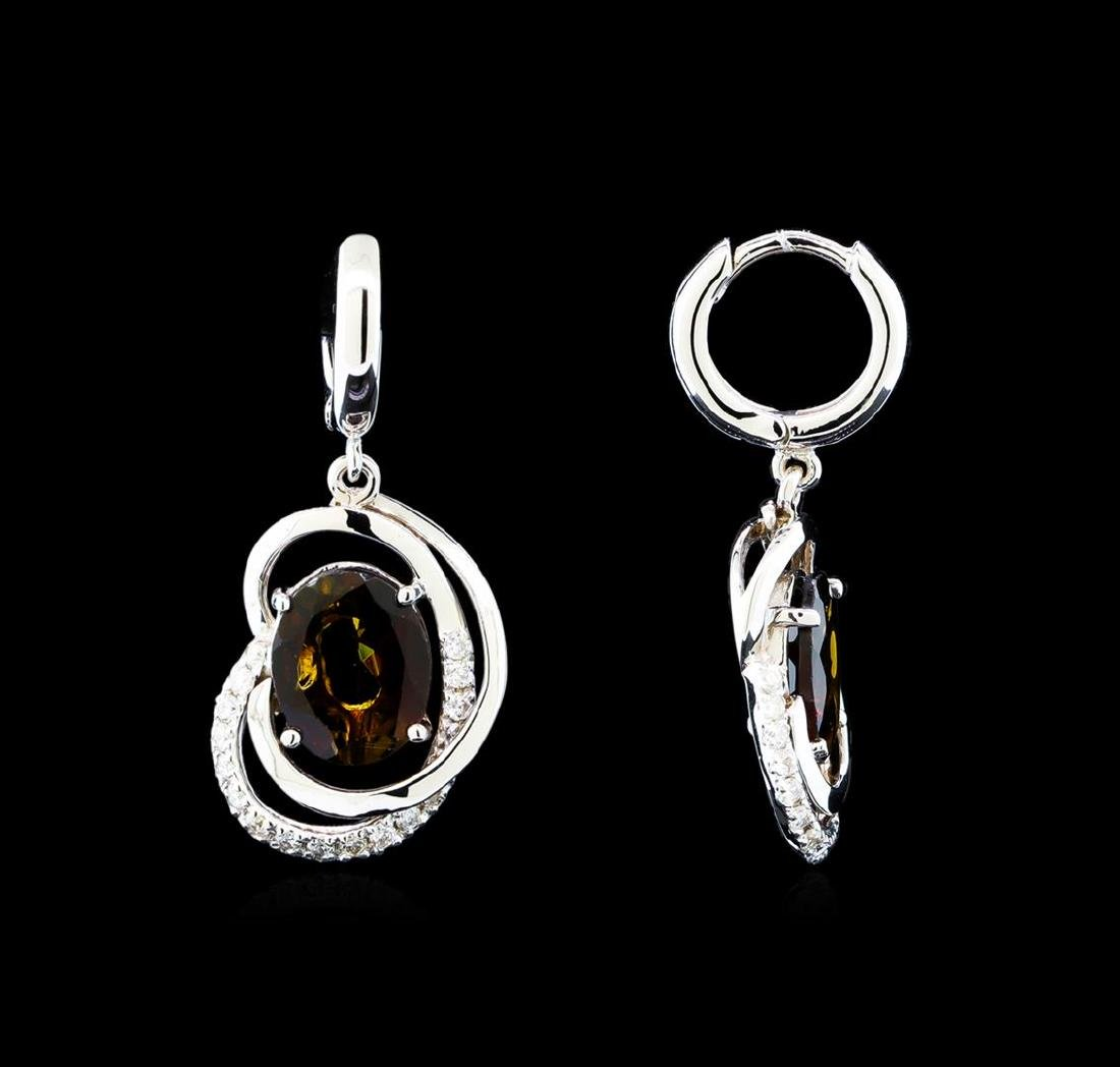 4.15 ctw Tourmaline and Diamond Earrings - 14KT White - 2