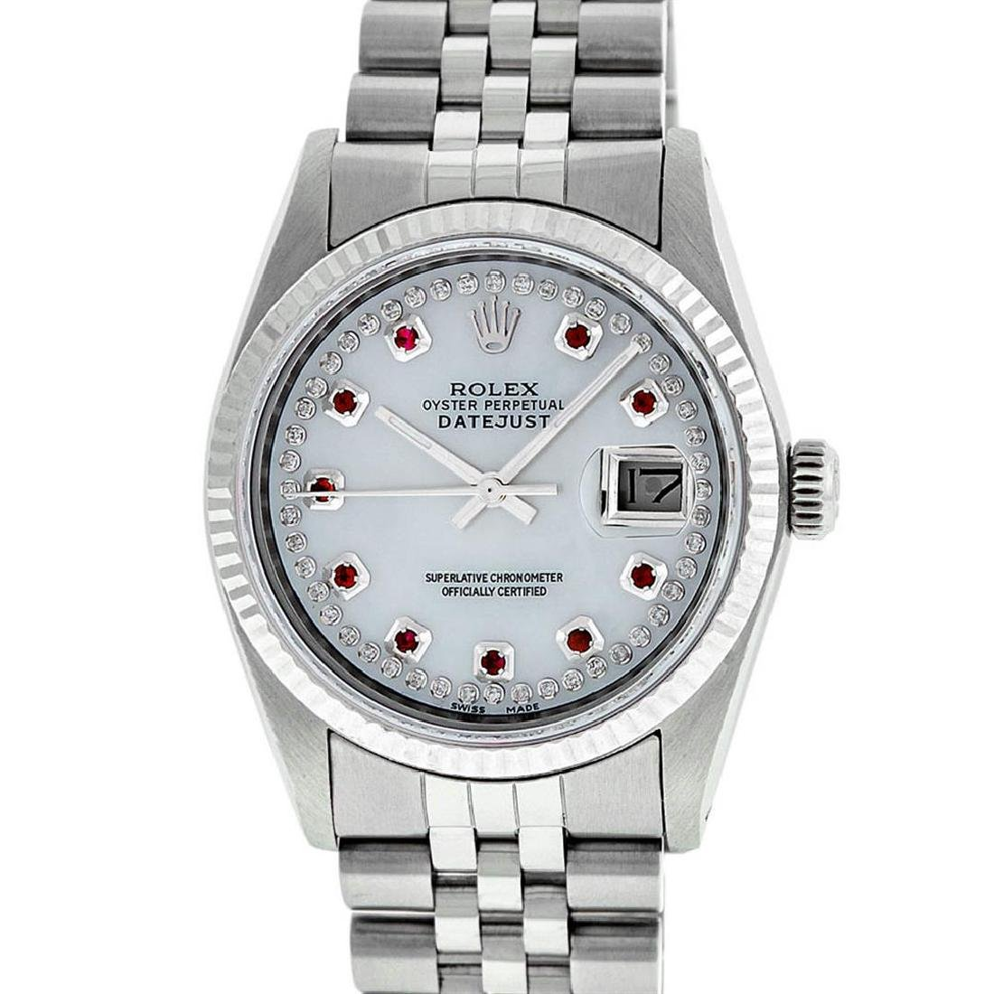 Rolex Mens Stainless Steel Mother Of Pearl Diamond & - 2