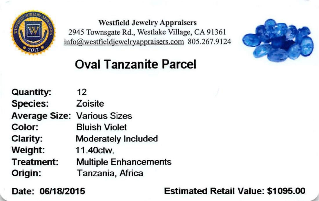 11.4 ctw Oval Mixed Tanzanite Parcel - 2