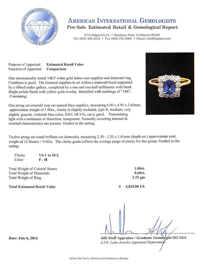 1.00 ctw Sapphire and Diamond Ring - 14KT White Gold - 5