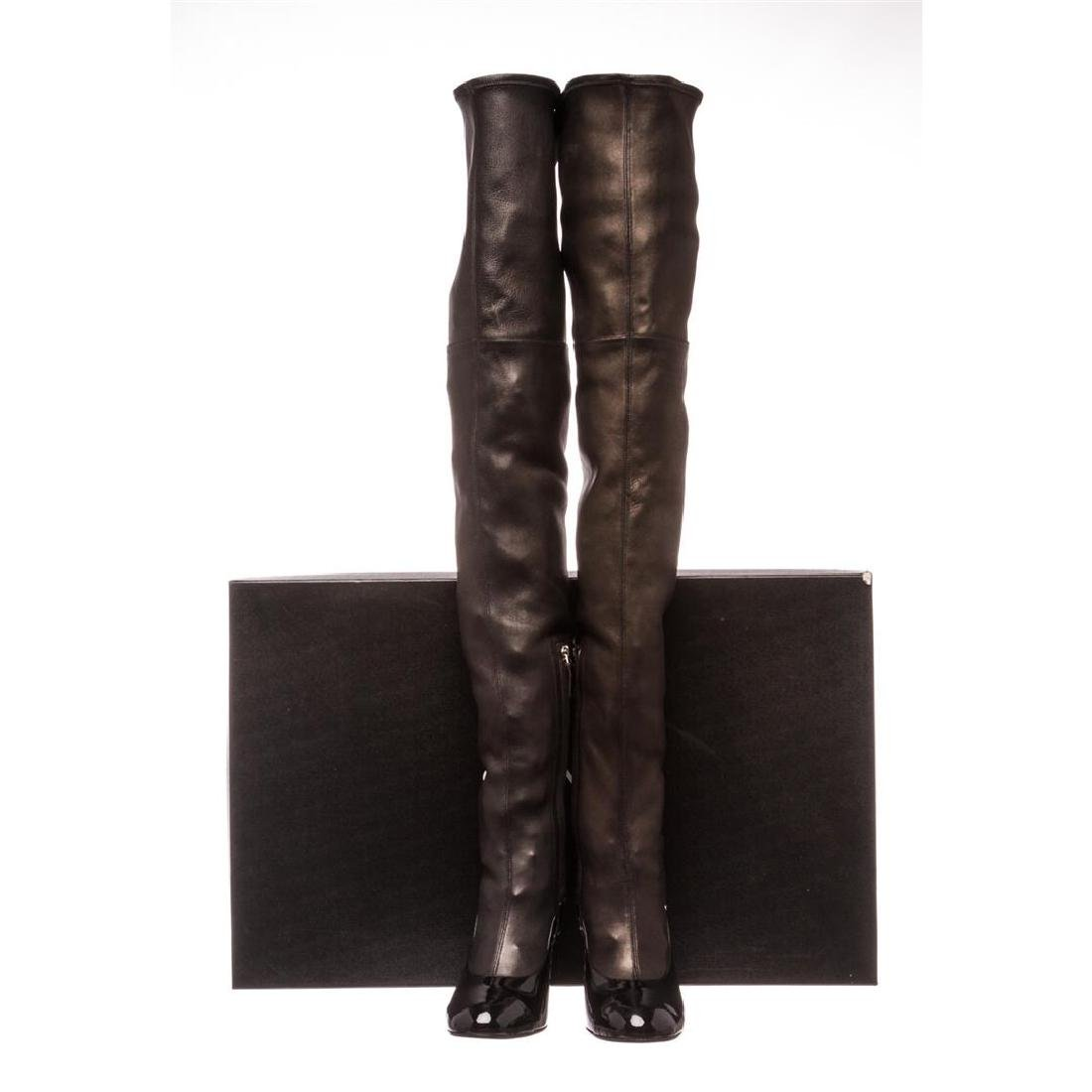Chanel Black Leather Thigh-High Pearl Heel Boots Heels - 2