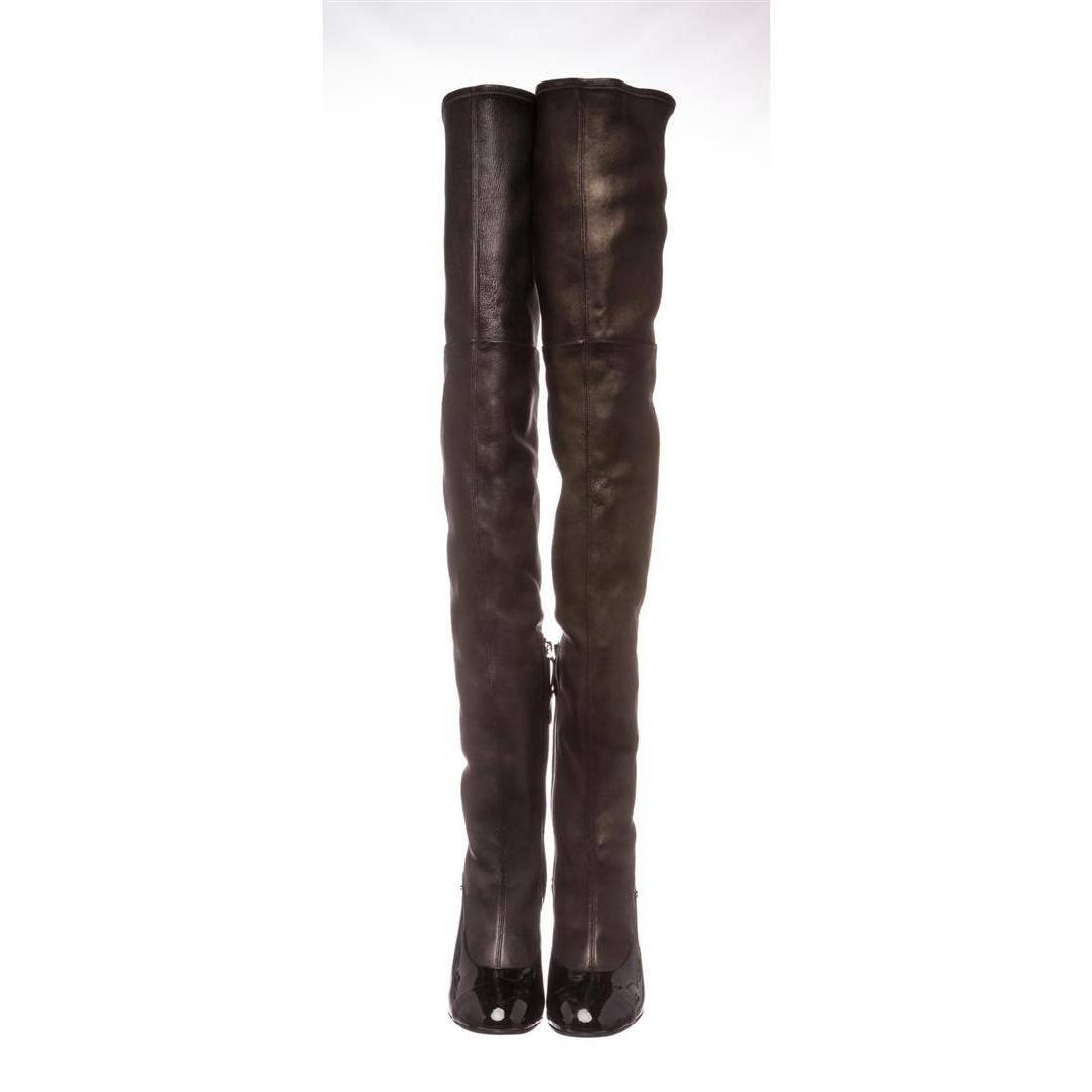 Chanel Black Leather Thigh-High Pearl Heel Boots Heels - 3