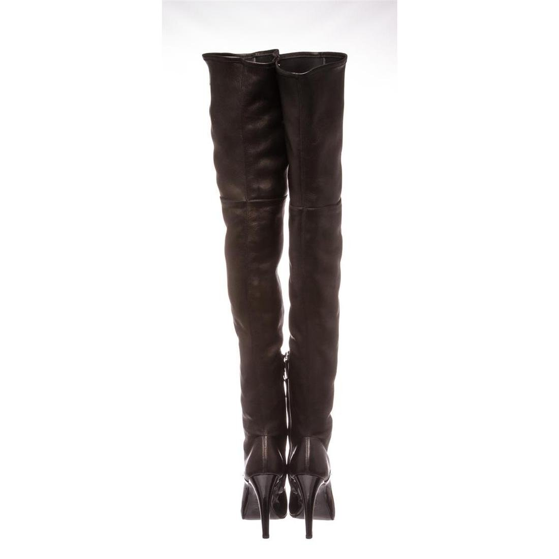 Chanel Black Leather Thigh-High Pearl Heel Boots Heels - 4