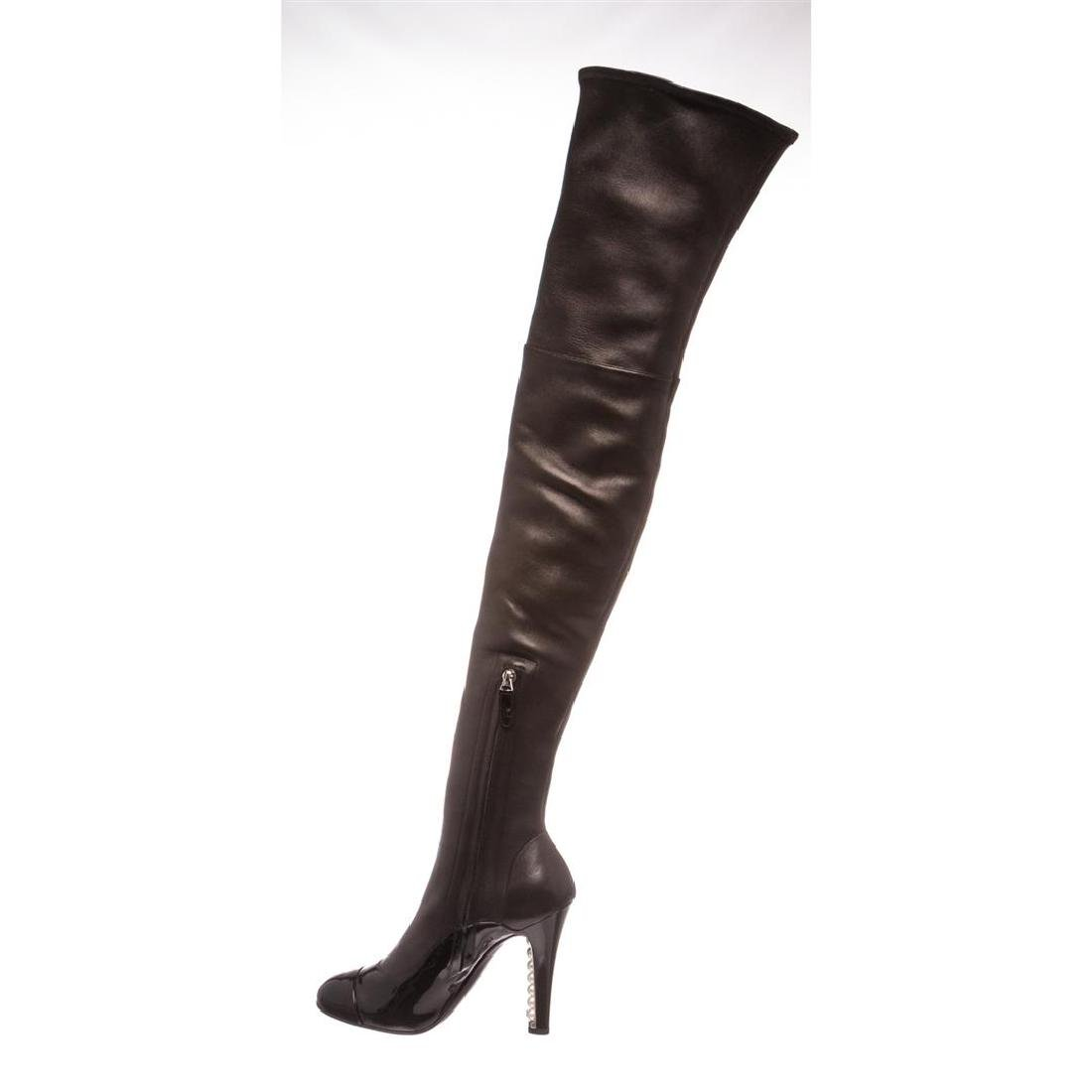 Chanel Black Leather Thigh-High Pearl Heel Boots Heels - 5