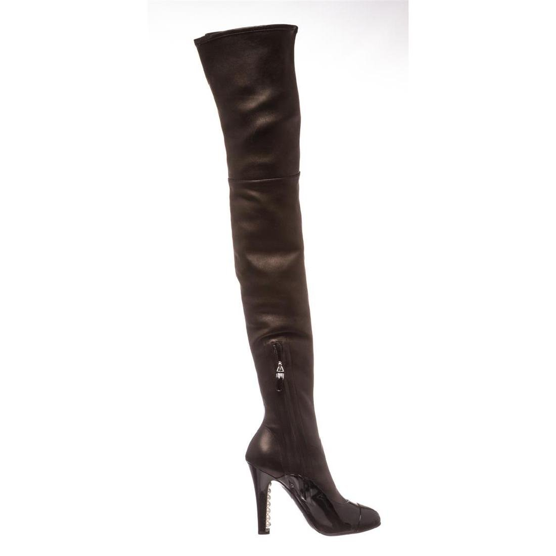 Chanel Black Leather Thigh-High Pearl Heel Boots Heels - 6