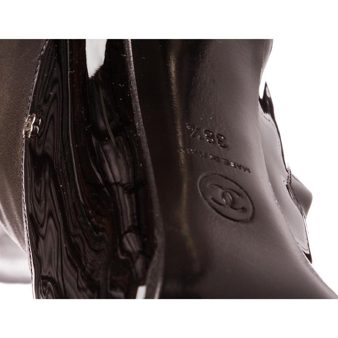 Chanel Black Leather Thigh-High Pearl Heel Boots Heels - 9