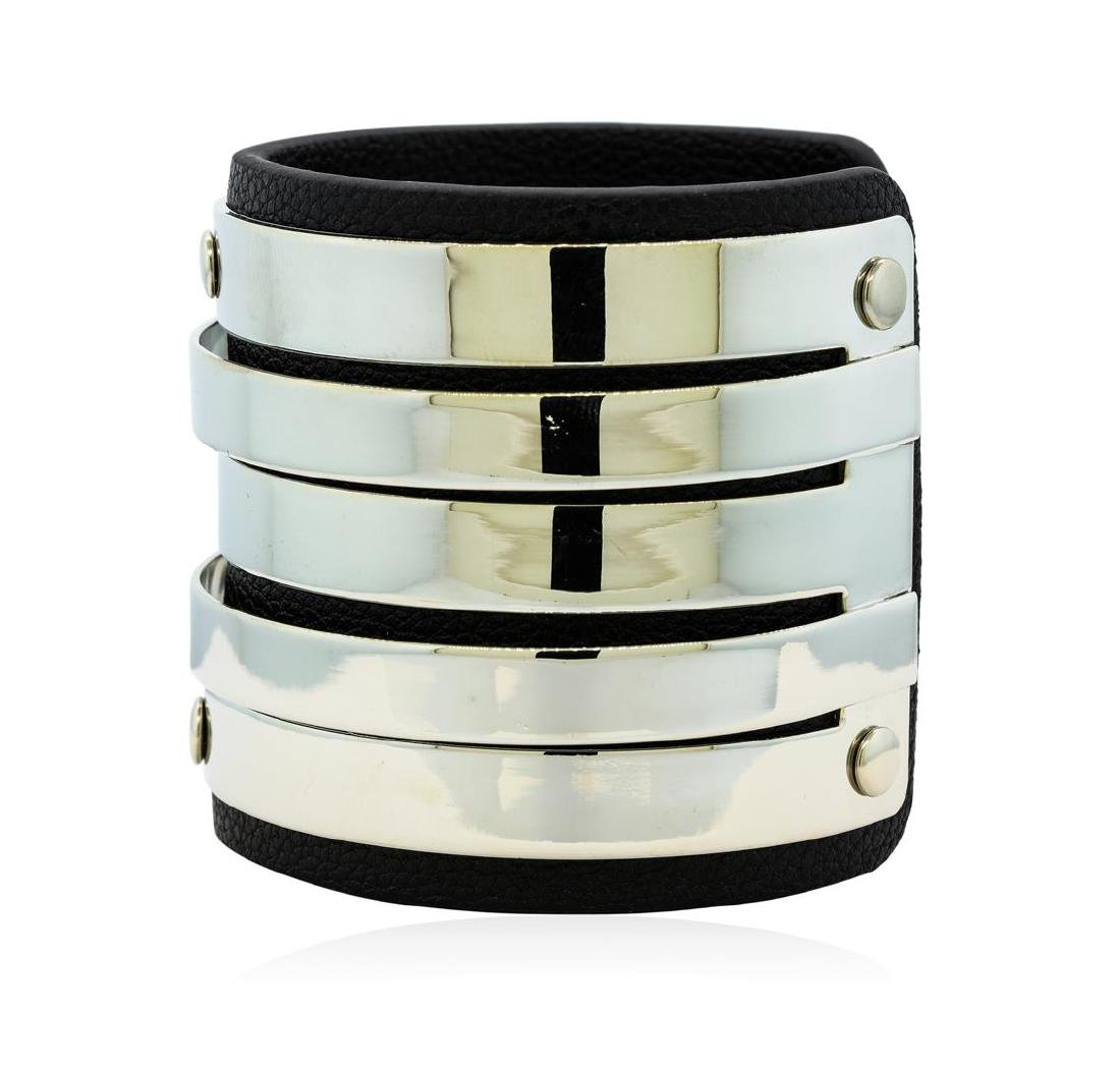 Multi Bangle Design Cuff Bracelet - Metal and Leather - 2