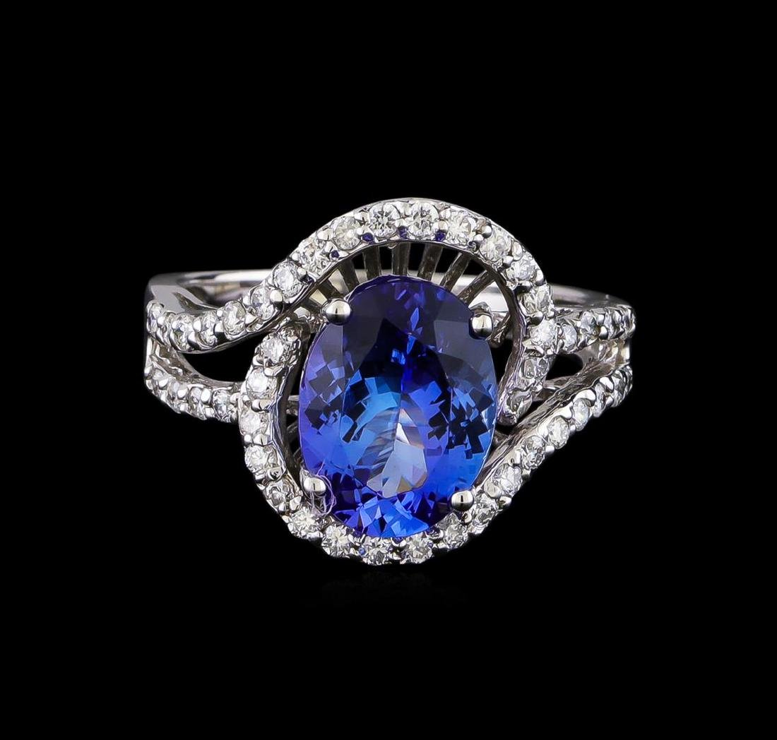 3.00 ctw Tanzanite and Diamond Ring - 14KT White Gold - 2