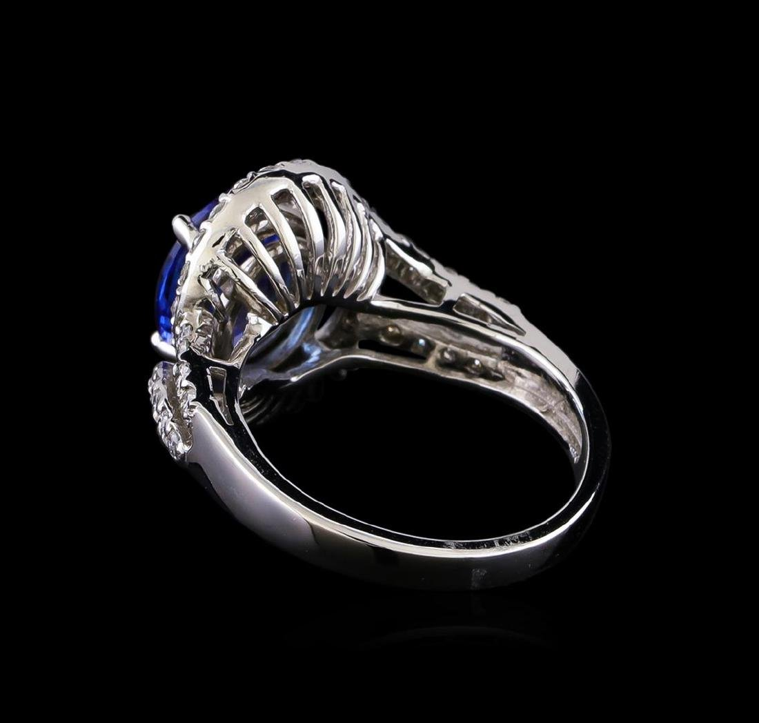 3.00 ctw Tanzanite and Diamond Ring - 14KT White Gold - 3