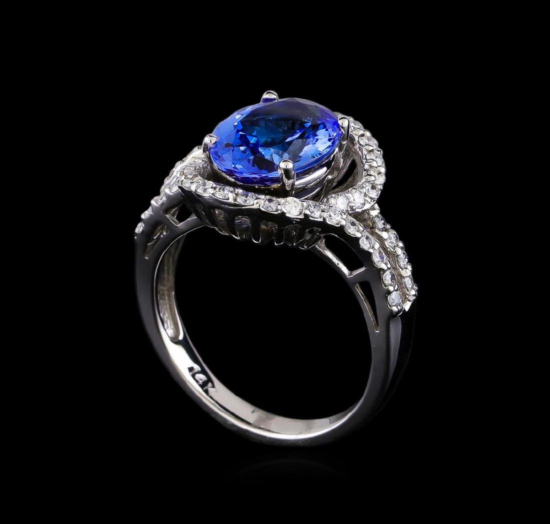 3.00 ctw Tanzanite and Diamond Ring - 14KT White Gold - 4