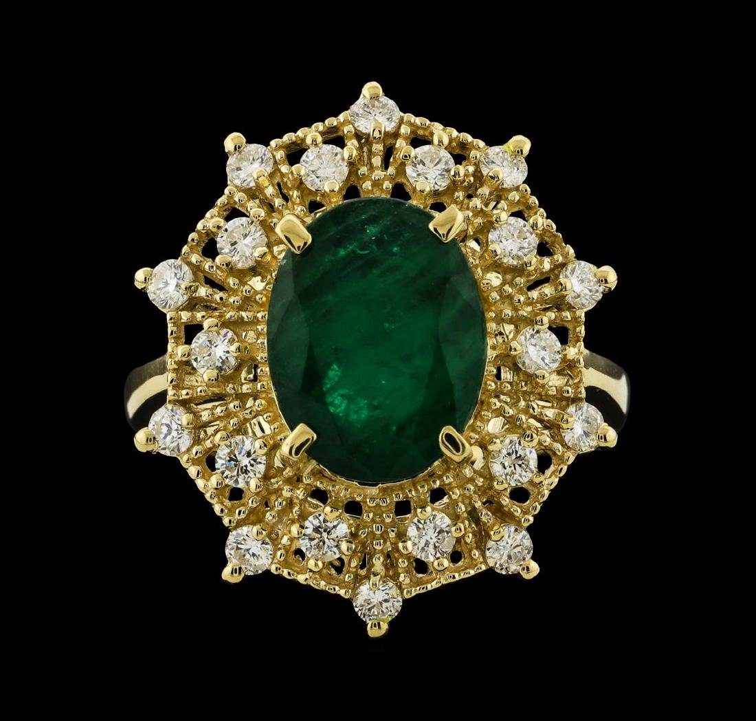 3.68 ctw Emerald and Diamond Ring - 14KT Yellow Gold - 2