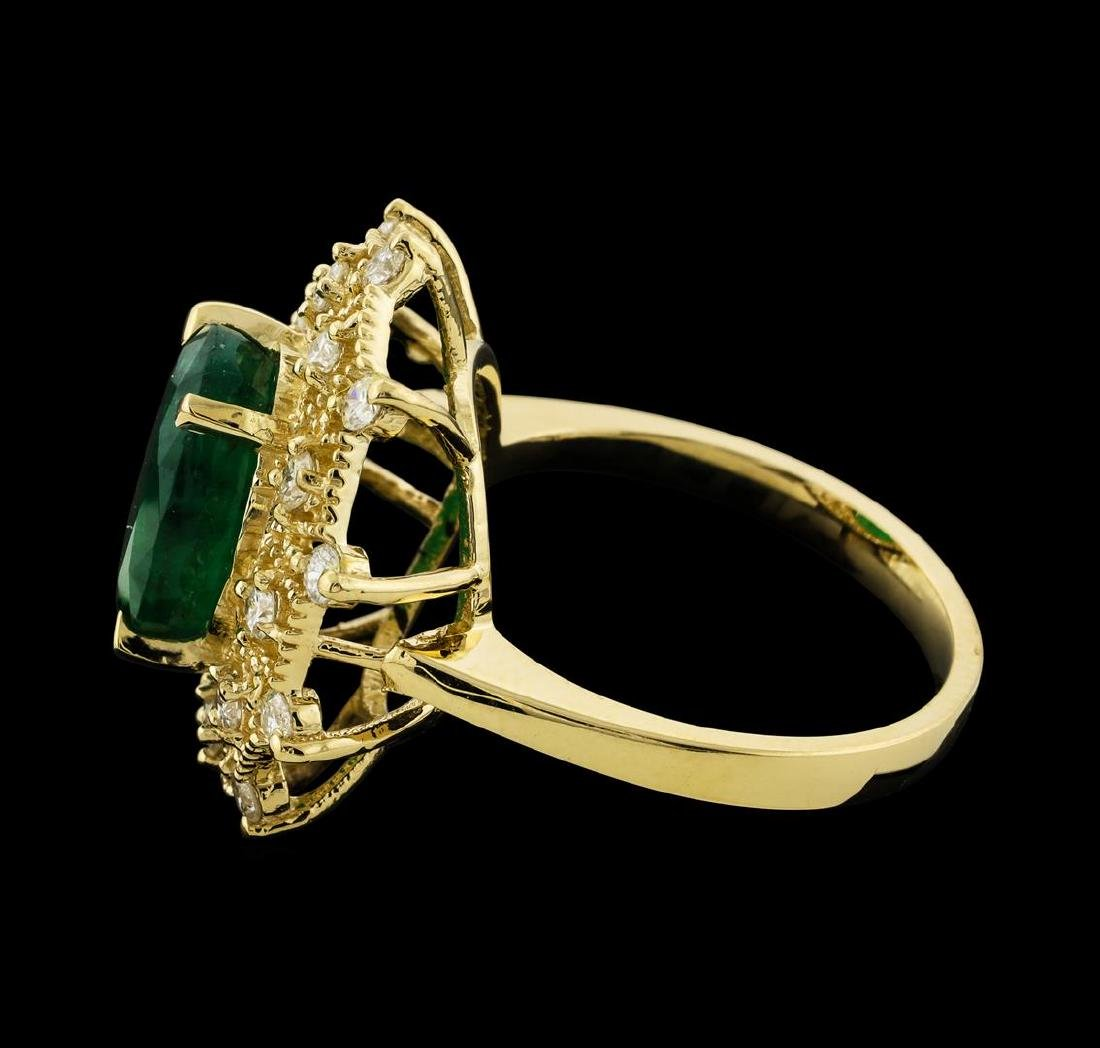 3.68 ctw Emerald and Diamond Ring - 14KT Yellow Gold - 3