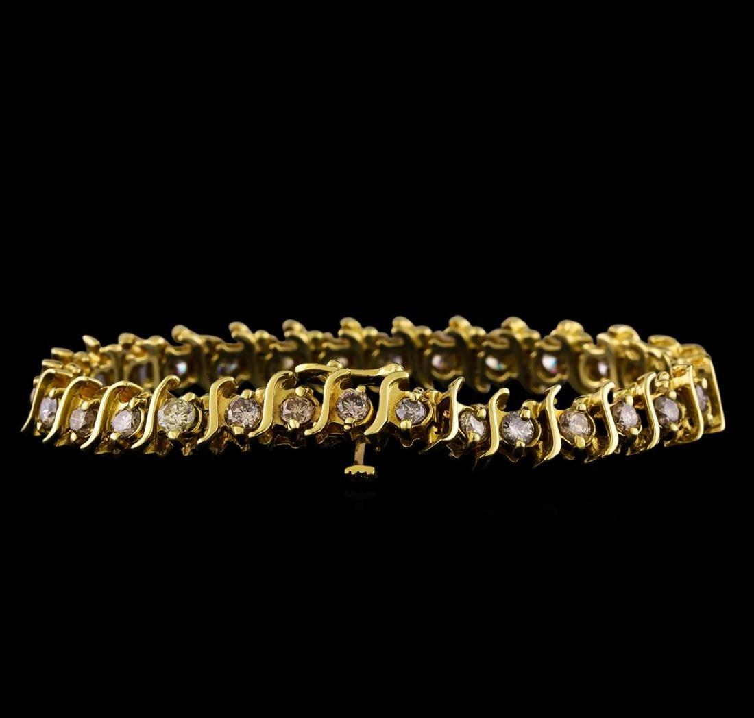 4.85 ctw Diamond Bracelet - 14KT Yellow Gold - 2
