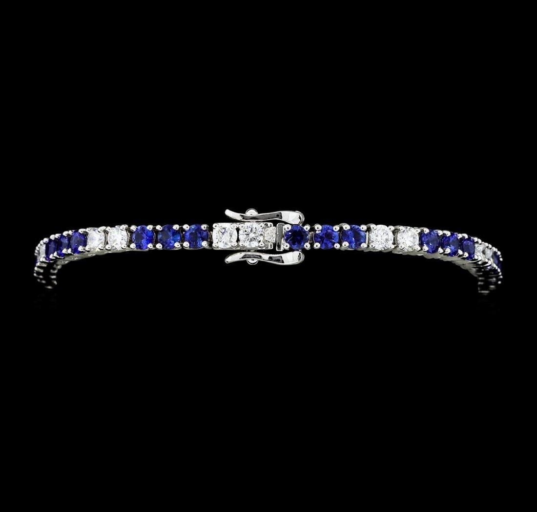 5.50 ctw Blue Sapphire And Diamond Bracelet - 14KT - 3