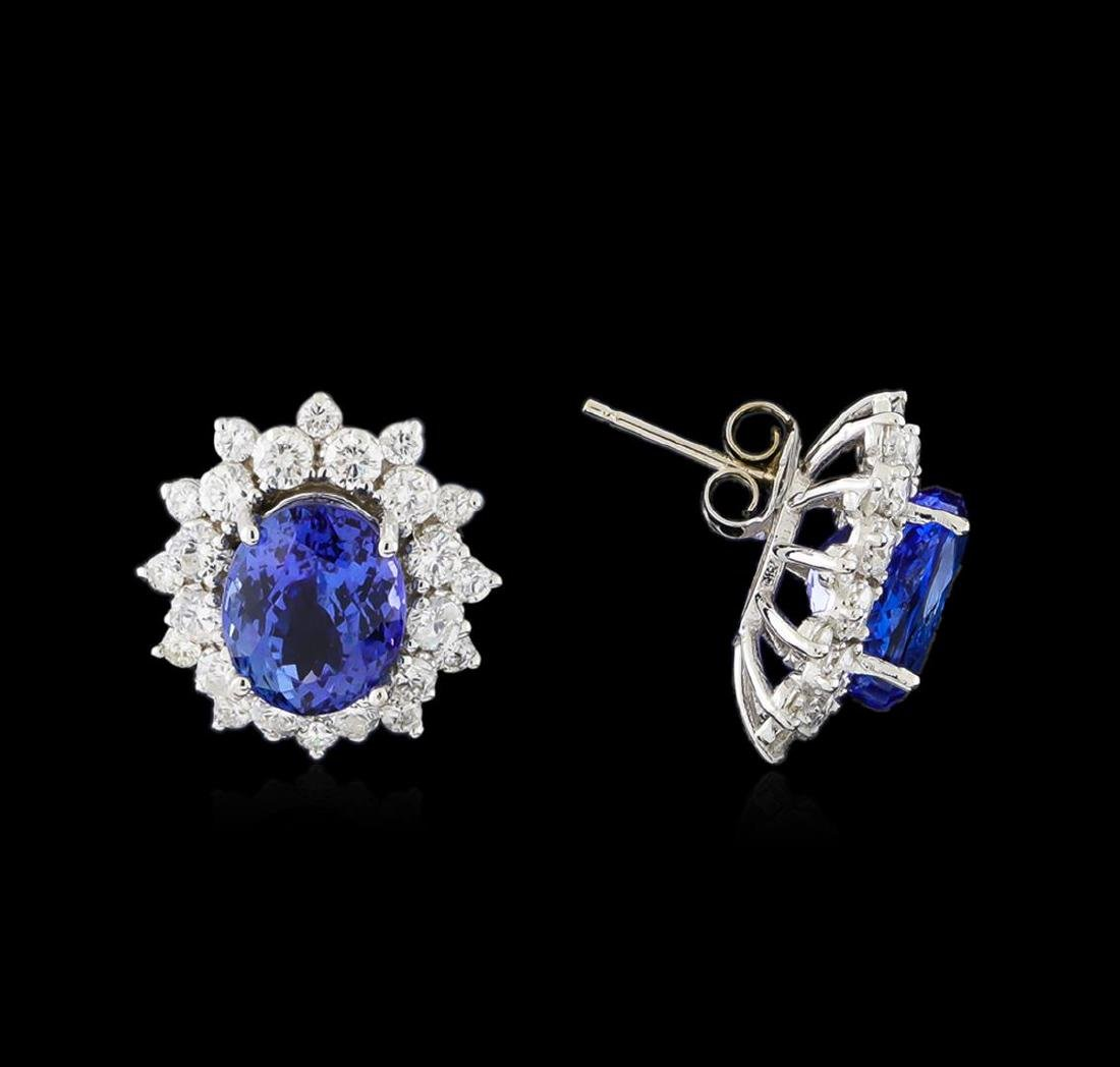14KT White Gold 5.82 ctw Tanzanite and Diamond Earrings - 2