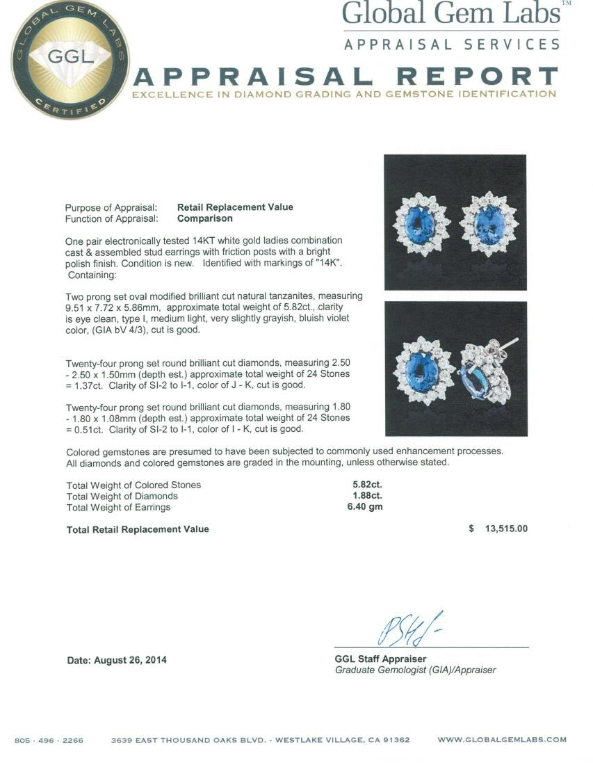 14KT White Gold 5.82 ctw Tanzanite and Diamond Earrings - 3