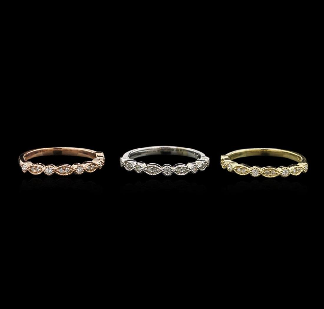 0.54 ctw Diamond Ring Set of 3 - 14KT Tri Color Gold