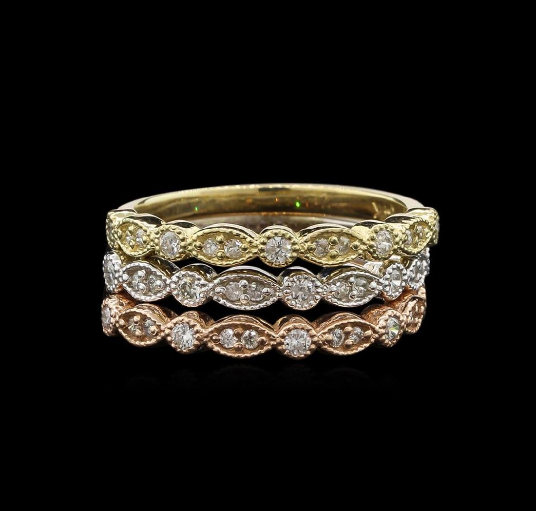 0.54 ctw Diamond Ring Set of 3 - 14KT Tri Color Gold - 2