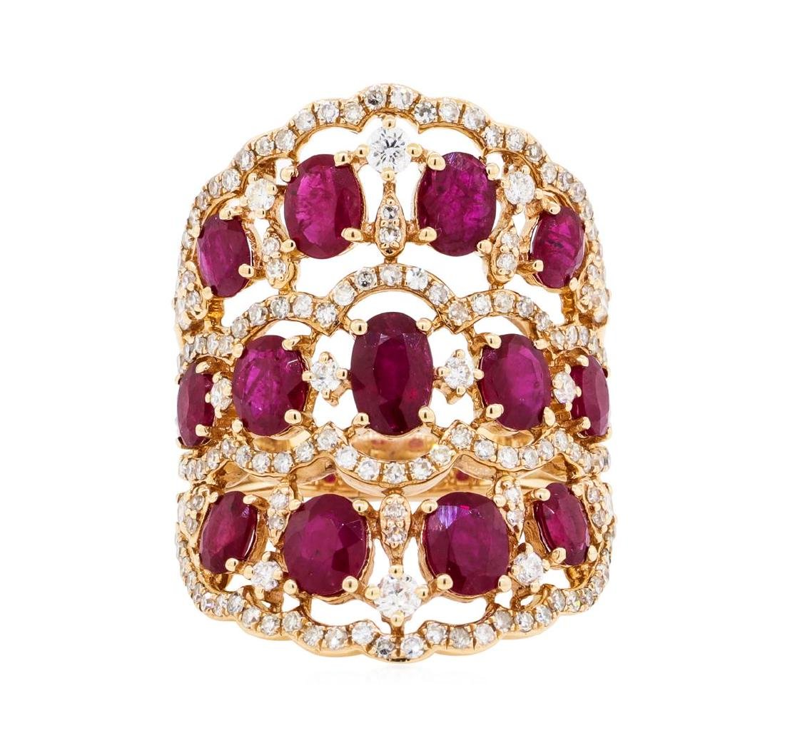 3.90 ctw Ruby and Diamond Ring - 14KT Rose Gold - 2