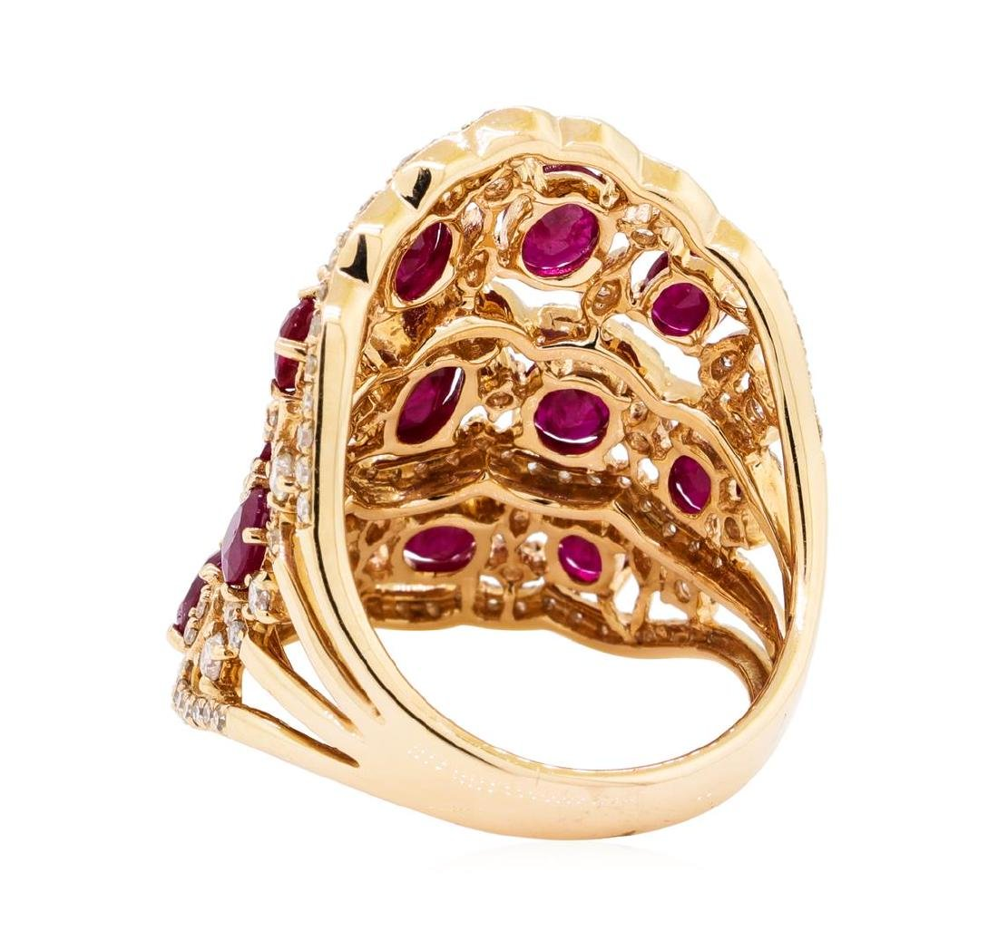 3.90 ctw Ruby and Diamond Ring - 14KT Rose Gold - 3