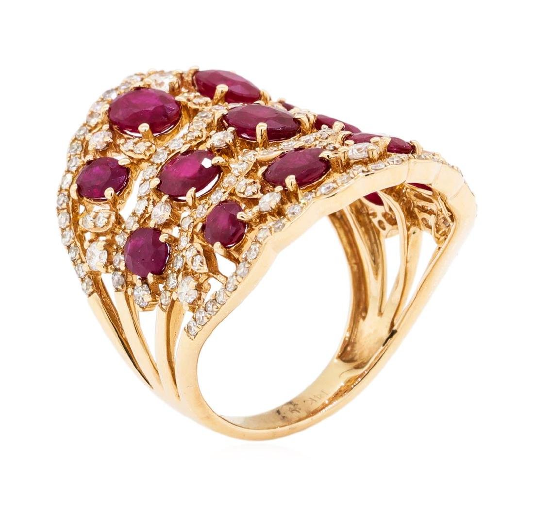 3.90 ctw Ruby and Diamond Ring - 14KT Rose Gold - 4