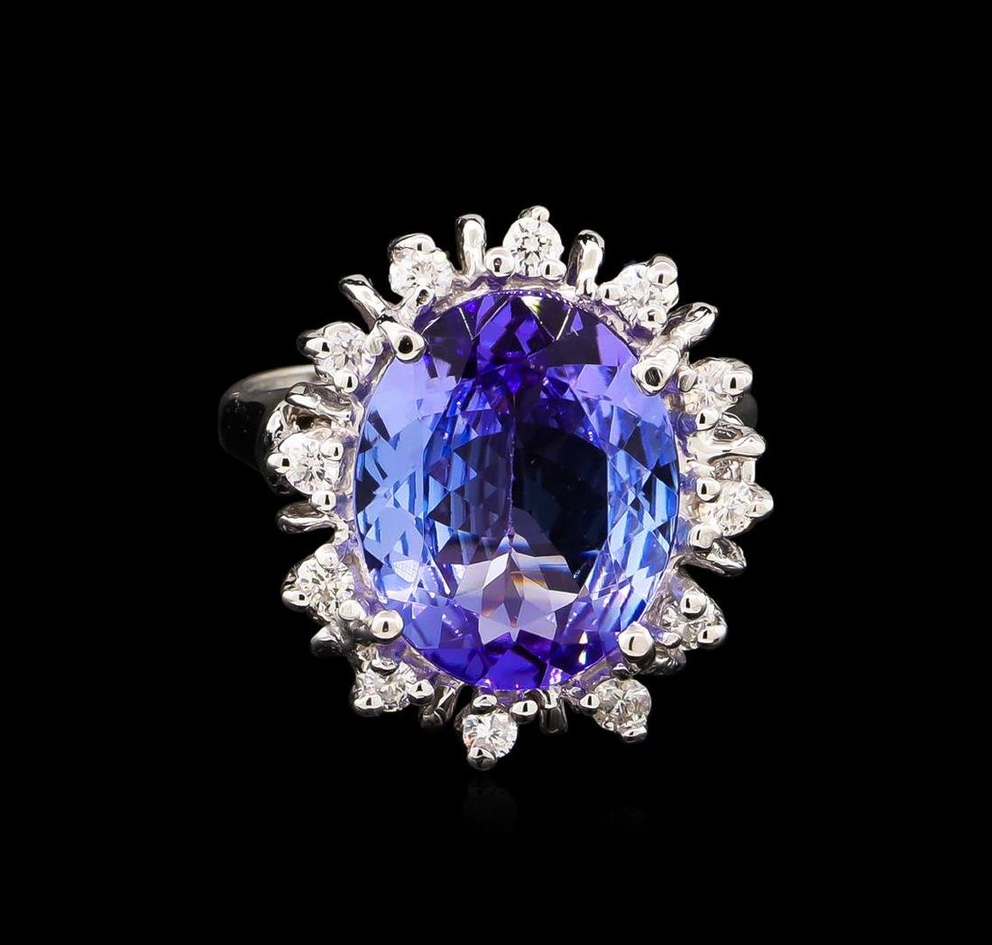 6.55 ctw Tanzanite and Diamond Ring - 14KT White Gold - 2