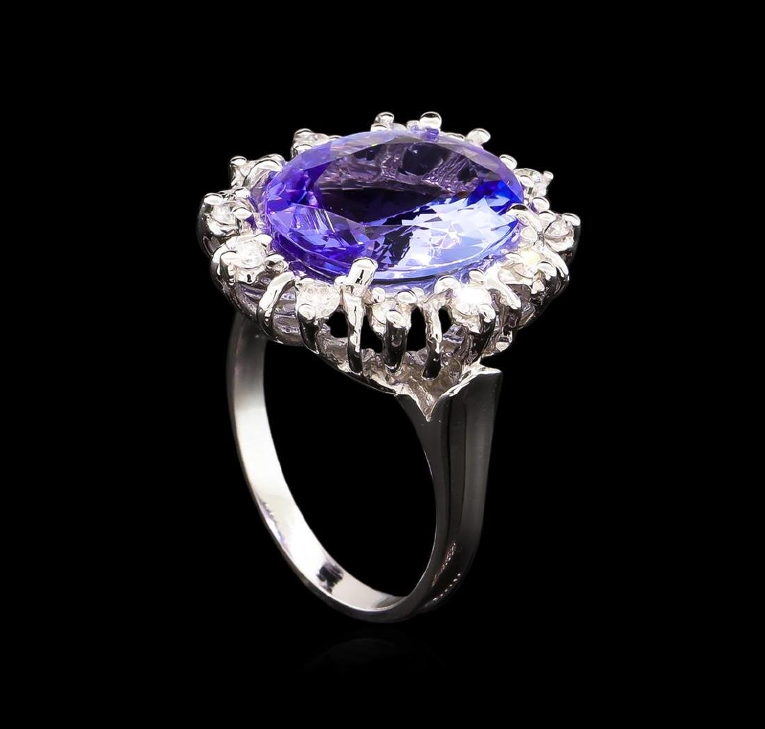 6.55 ctw Tanzanite and Diamond Ring - 14KT White Gold - 4
