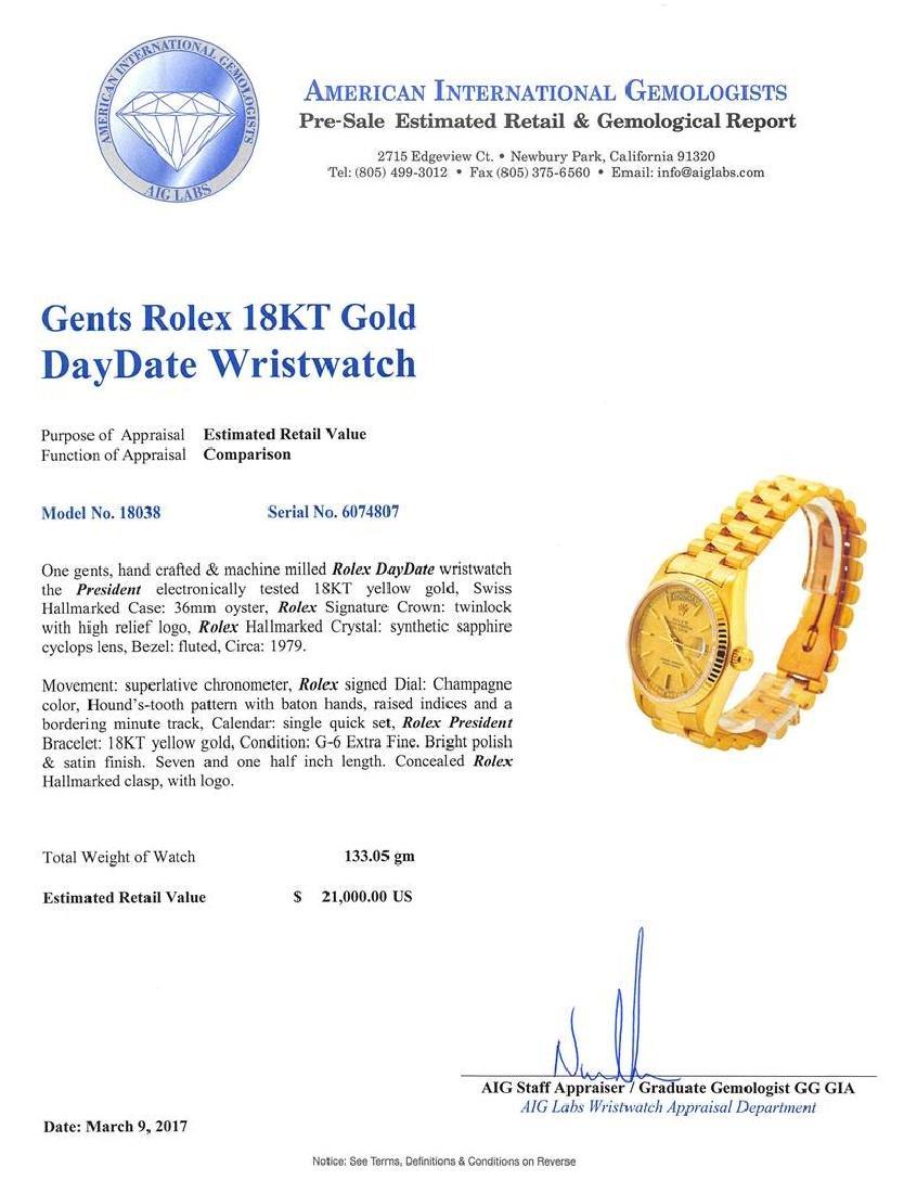 Gents Rolex 18KT Yellow Gold President Daydate Watch - 5