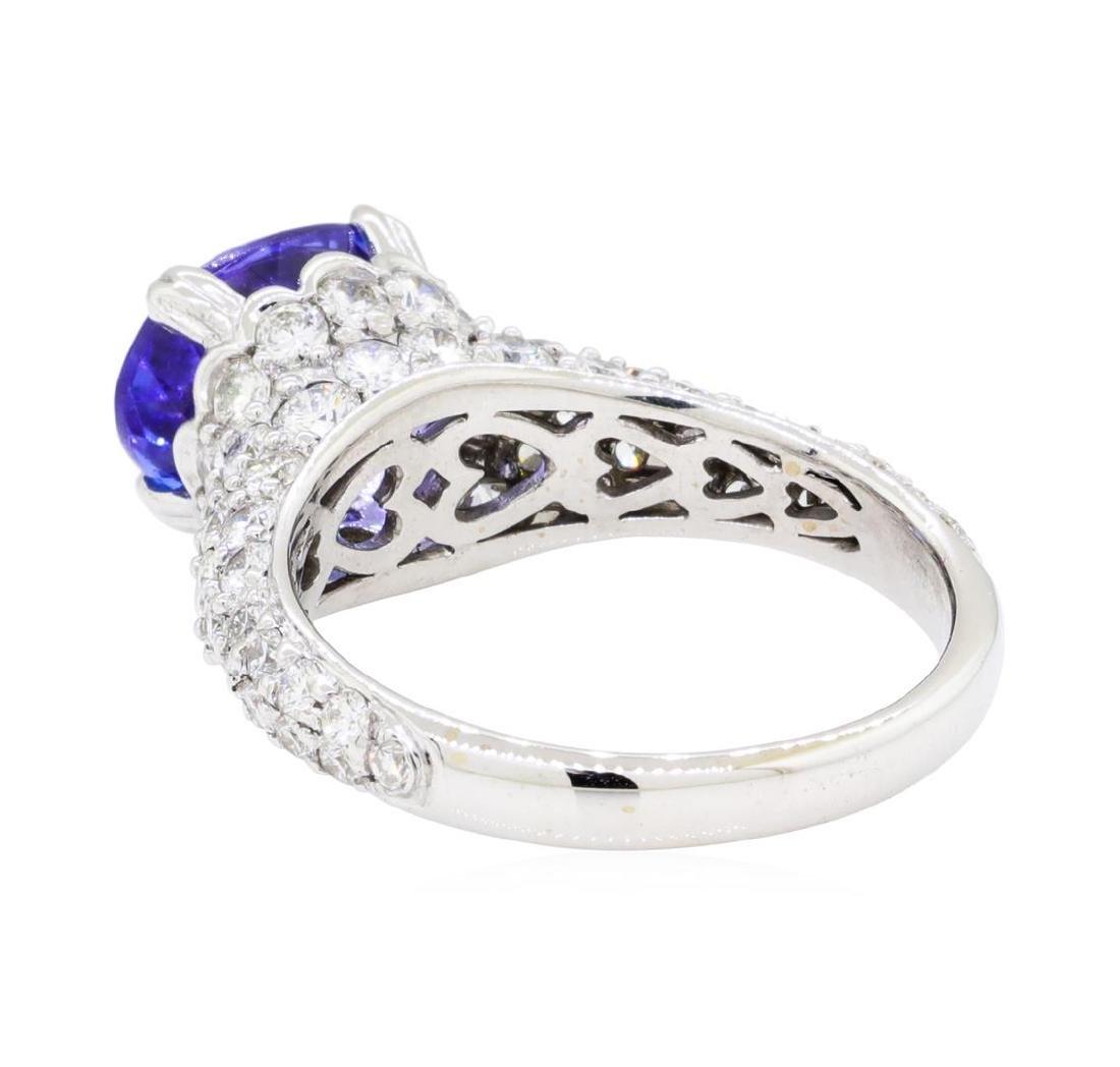 2.67 ctw Tanzanite And Diamond Ring - 18KT White Gold - 3