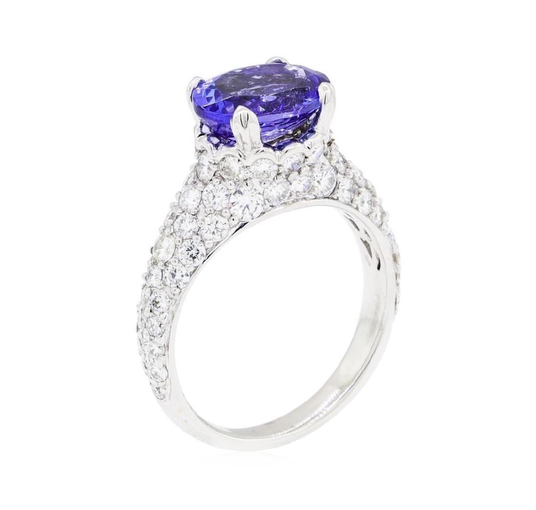 2.67 ctw Tanzanite And Diamond Ring - 18KT White Gold - 4