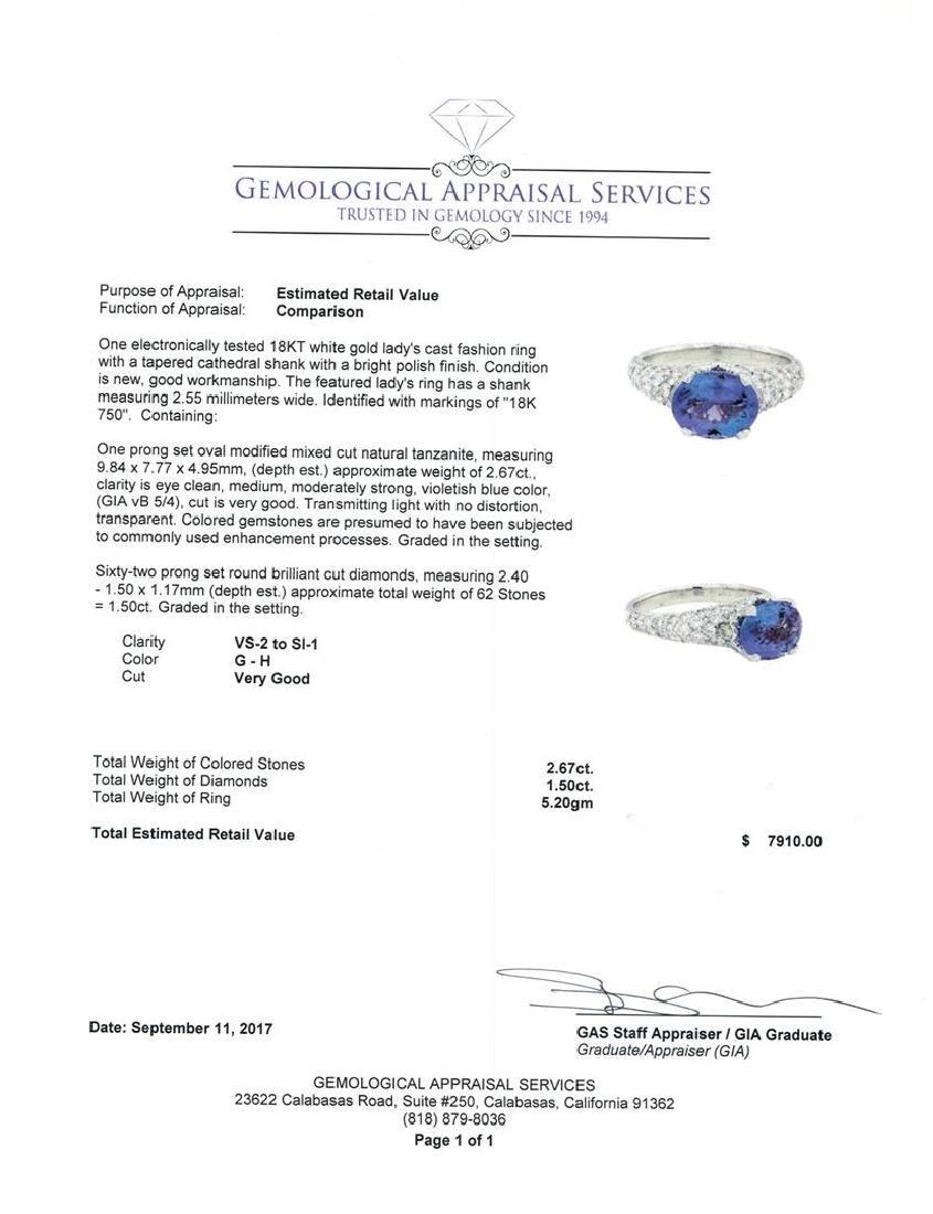 2.67 ctw Tanzanite And Diamond Ring - 18KT White Gold - 5