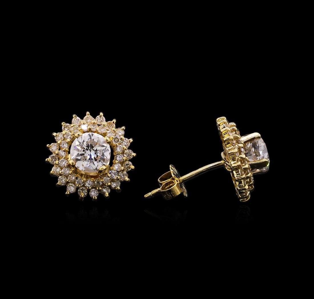 2.46 ctw Diamond Earrings - 14KT Yellow Gold - 2