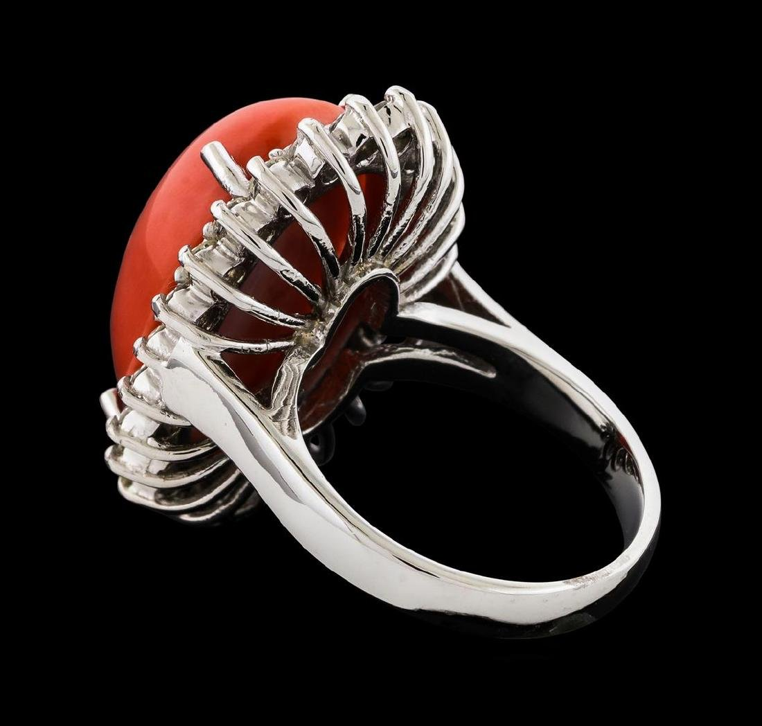 9.80 ctw Coral and Diamond Ring - 14KT White Gold - 3