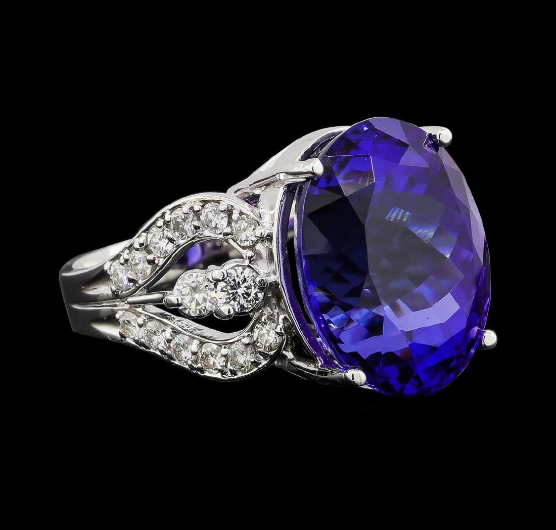 GIA Cert 18.52 ctw Tanzanite and Diamond Ring - 14KT