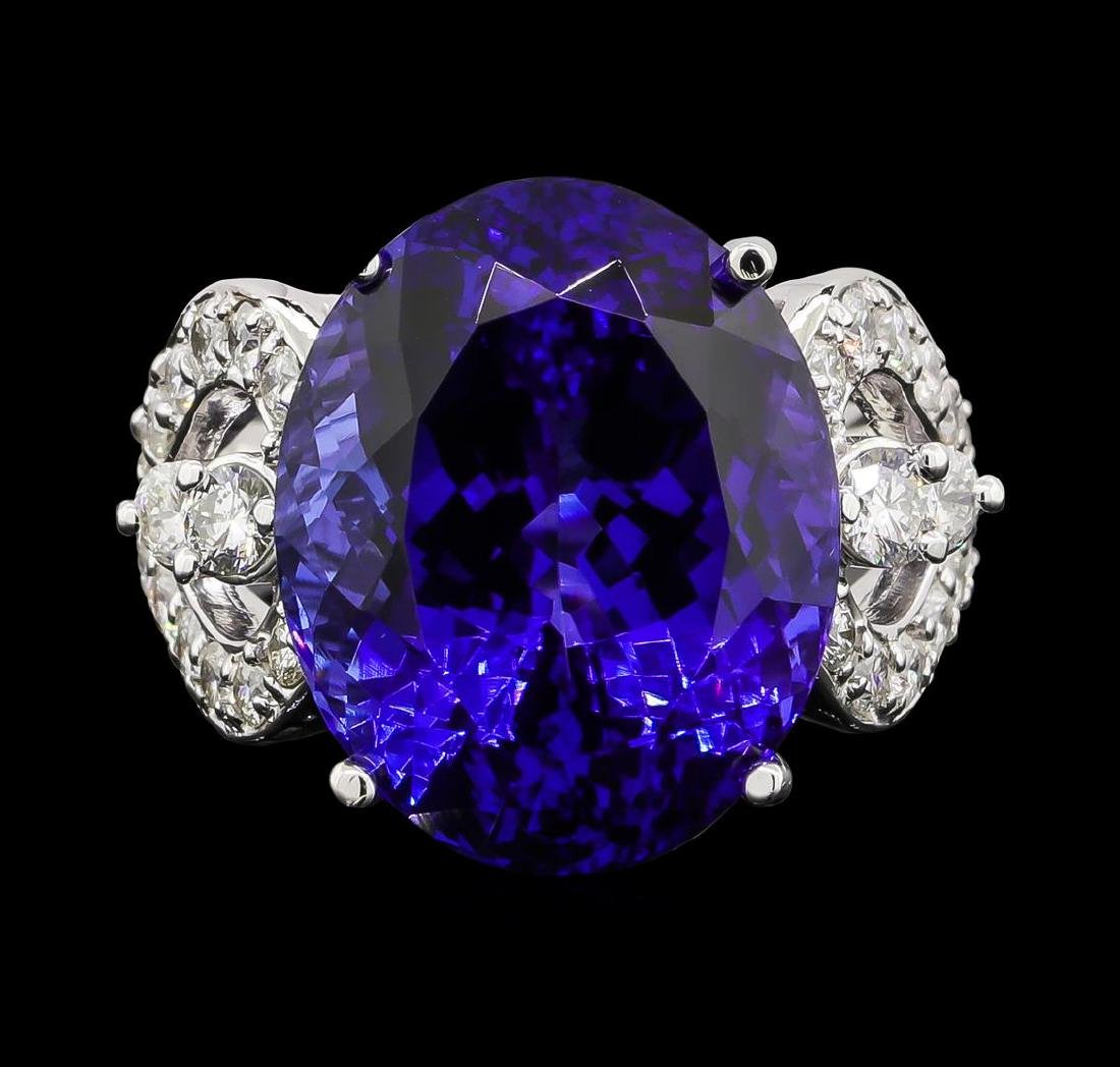 GIA Cert 18.52 ctw Tanzanite and Diamond Ring - 14KT - 2