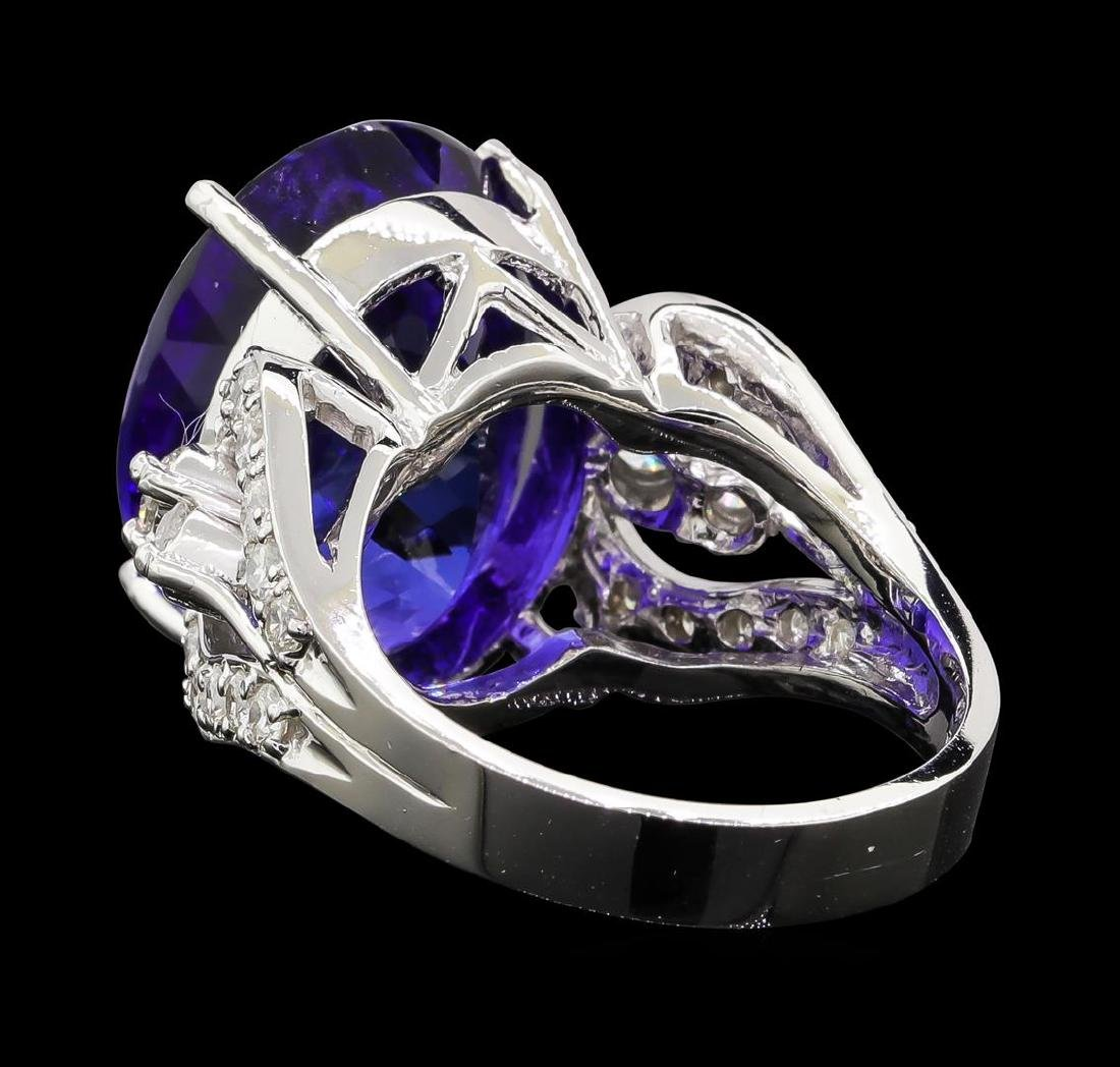 GIA Cert 18.52 ctw Tanzanite and Diamond Ring - 14KT - 3