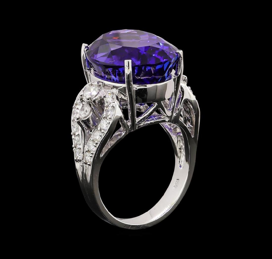 GIA Cert 18.52 ctw Tanzanite and Diamond Ring - 14KT - 4