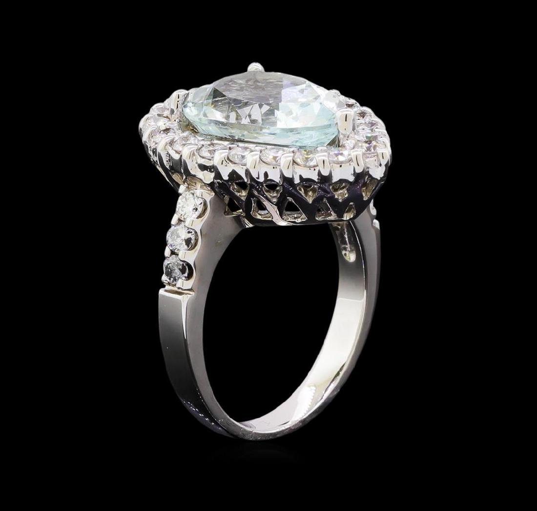 4.65 ctw Aquamarine and Diamond Ring - 14KT White Gold - 4