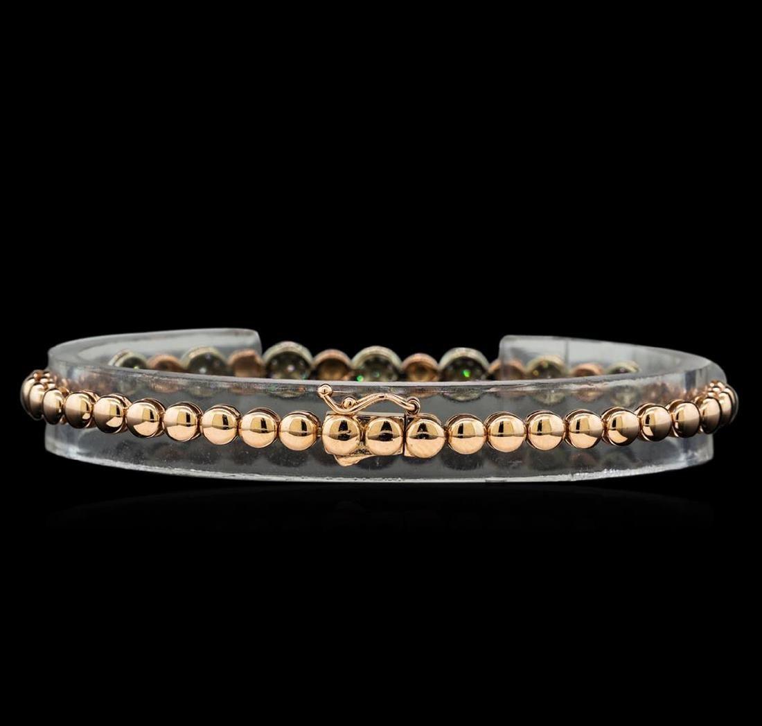 0.75 ctw Diamond Bracelet - 14KT Rose and White Gold - 2