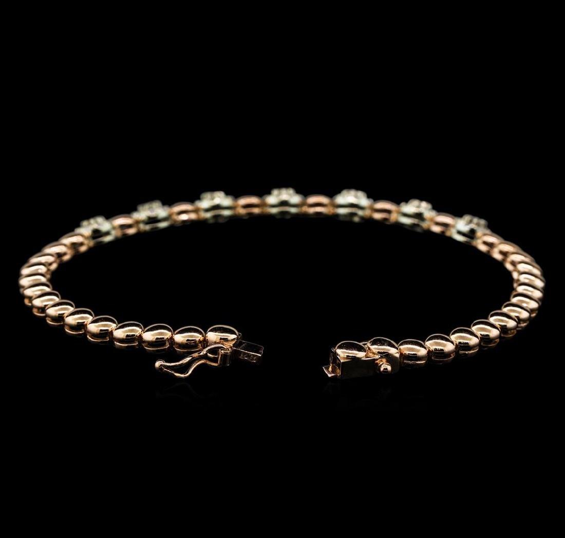 0.75 ctw Diamond Bracelet - 14KT Rose and White Gold - 3