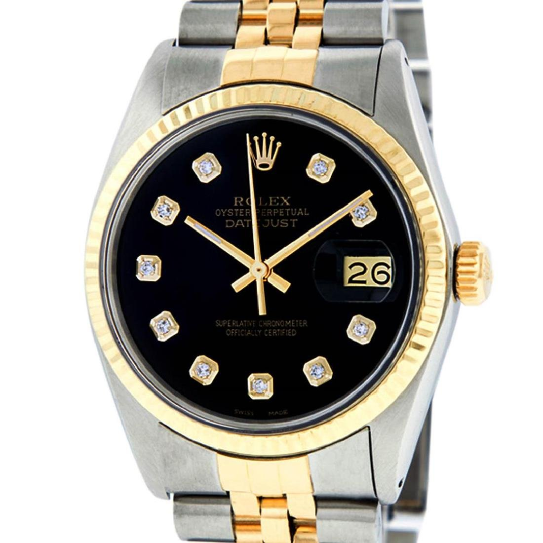 Rolex Mens 2 Tone 14K Black Diamond 36MM Datejust - 2