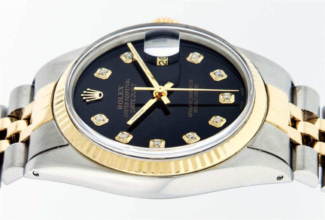 Rolex Mens 2 Tone 14K Black Diamond 36MM Datejust - 3