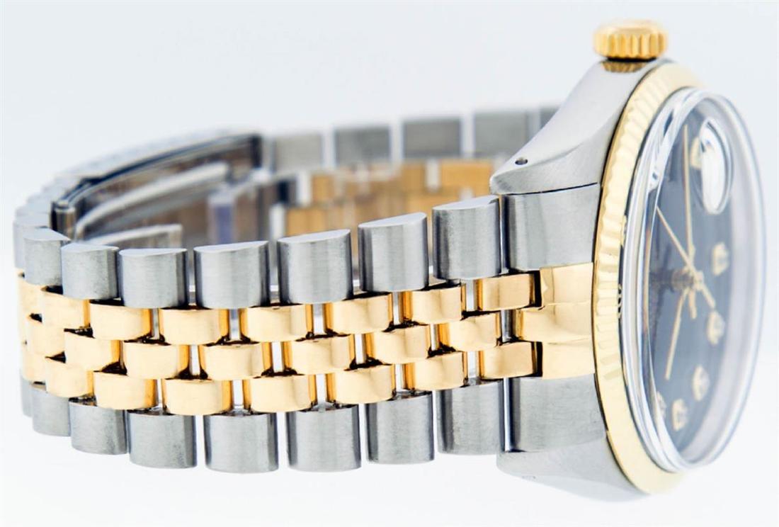 Rolex Mens 2 Tone 14K Black Diamond 36MM Datejust - 6