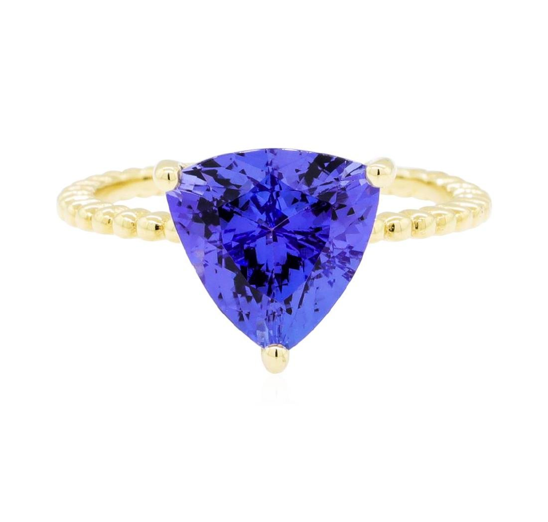3.26 ctw Tanzanite Ring - 14KT Yellow Gold - 2
