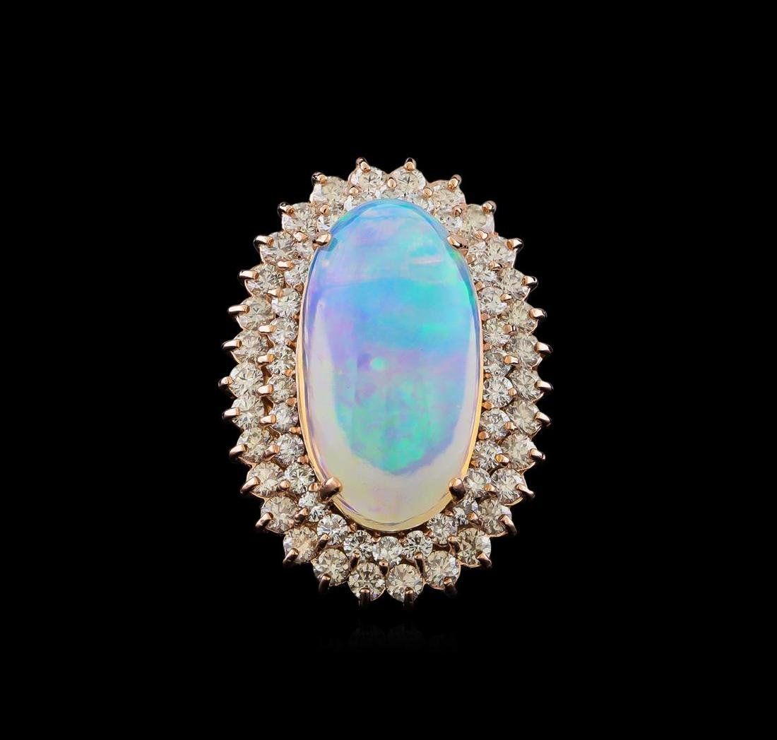 16.01 ctw Opal and Diamond Ring - 14KT Rose Gold - 2