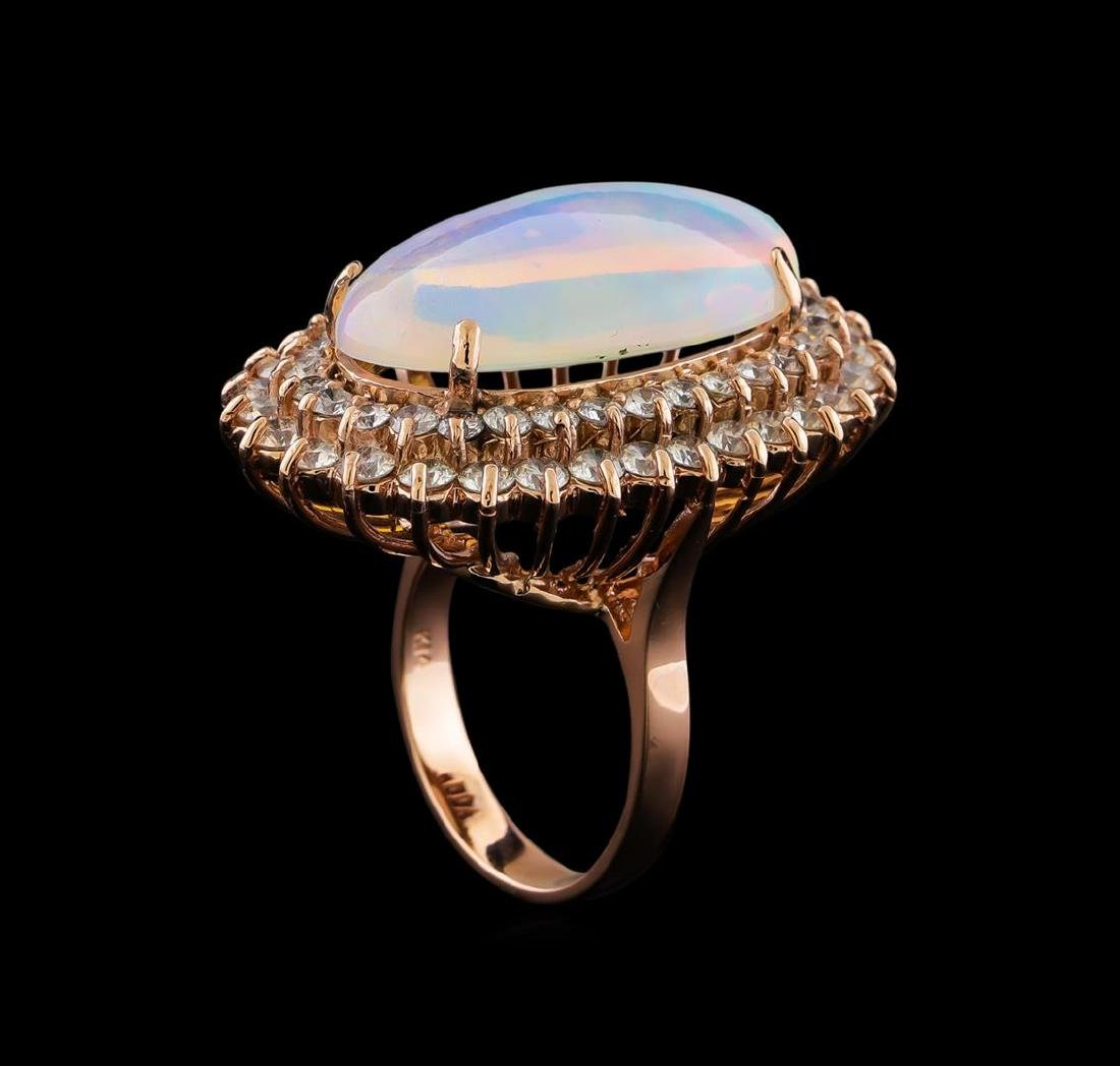 16.01 ctw Opal and Diamond Ring - 14KT Rose Gold - 4