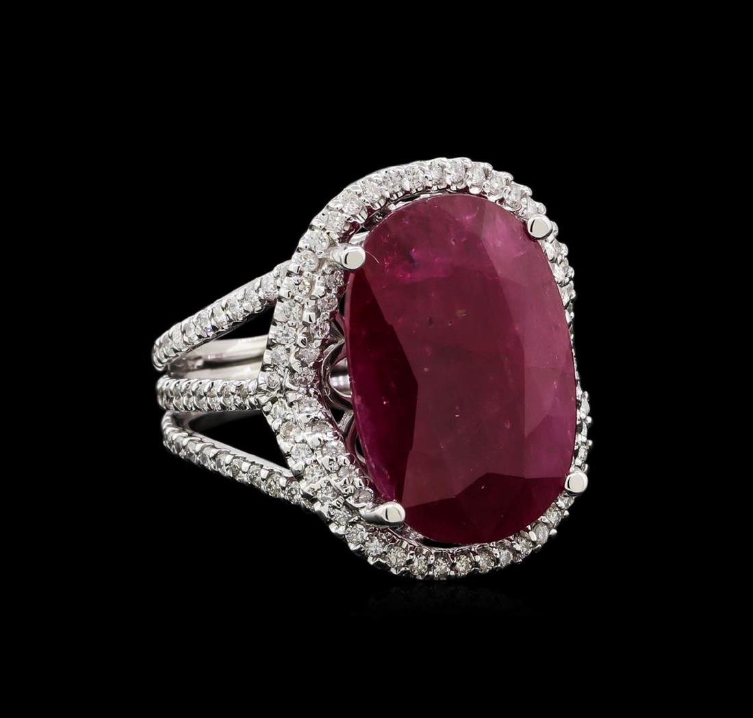 GIA Cert 12.23 ctw Ruby and Diamond Ring - 14KT White