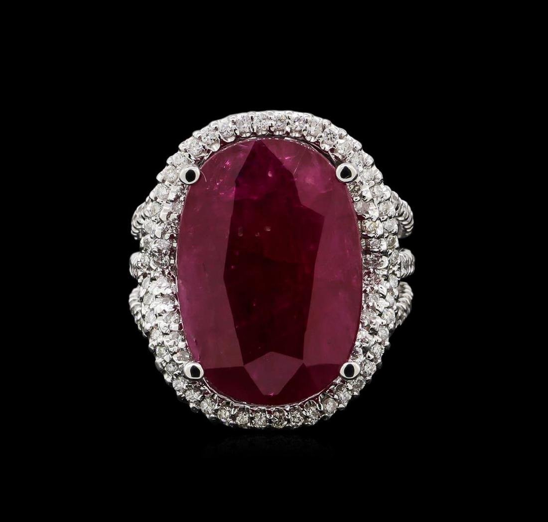 GIA Cert 12.23 ctw Ruby and Diamond Ring - 14KT White - 2
