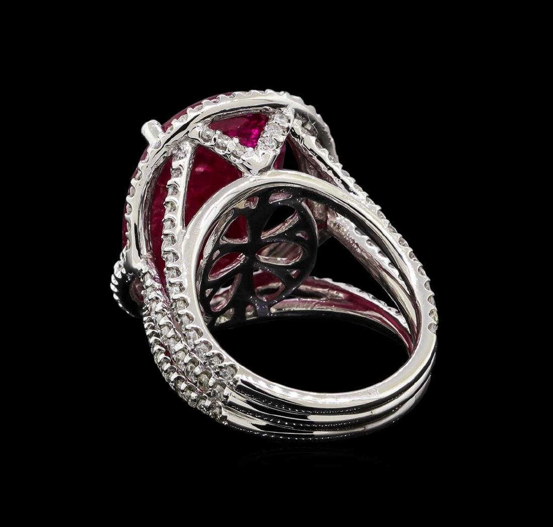 GIA Cert 12.23 ctw Ruby and Diamond Ring - 14KT White - 3